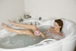 young woman in bathtub