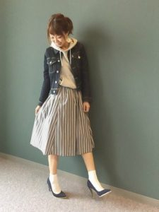 ミモレ丈台形辛口スカート